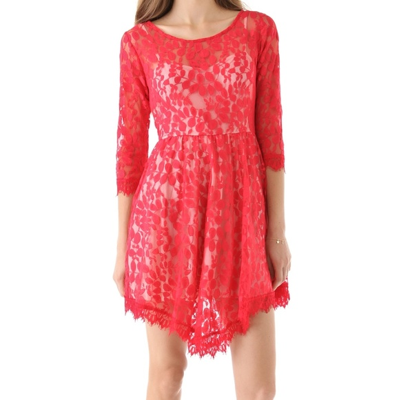 Free People Dresses & Skirts - Free People Red Floral Mesh Lace Dress 10